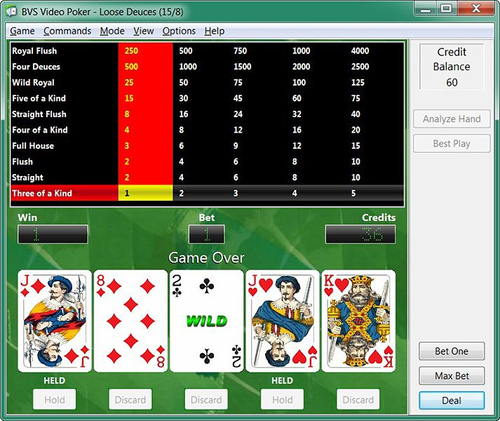 Screenshot of BVS Video Poker